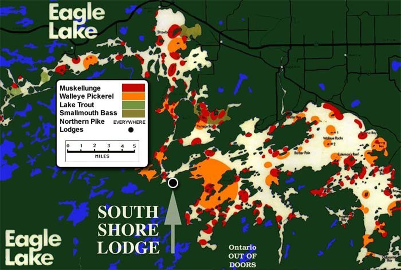 Map Of Eagle Lake Canada Eagle Lake Fishing | Map | South Shore Lodge